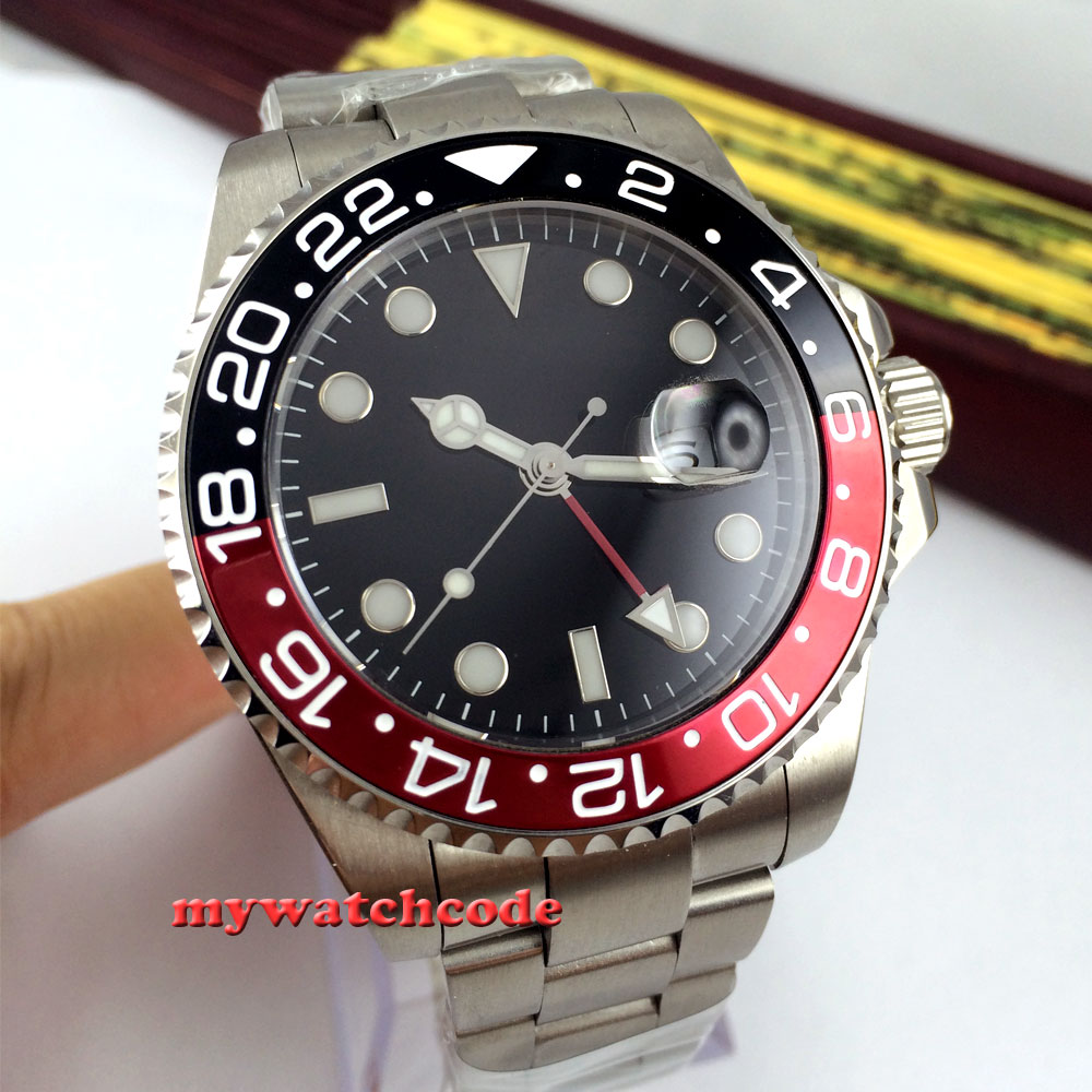 лучшая цена 43mm parnis black dial black-red Bezel sapphire glass automatic mens watch 324