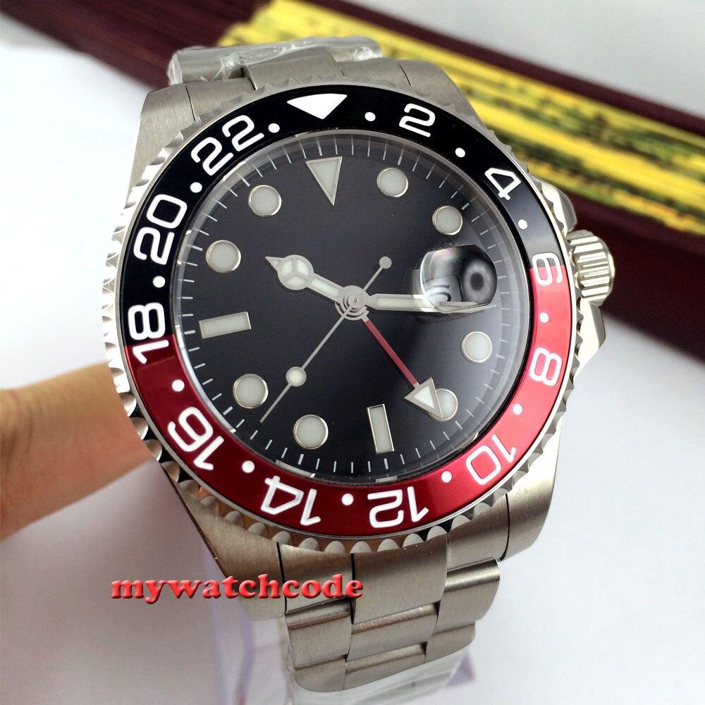 43mm parnis black dial black-red Bezel sapphire glass automatic mens watch 324 цена и фото