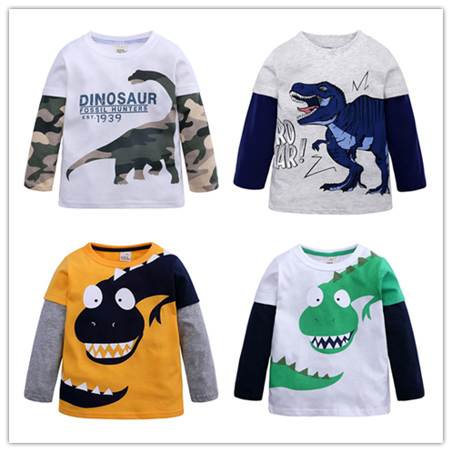 T-Shirt Spring Boys Tops Long-Sleeve Autumn Kids Children Cartoon Tees Cotton for 2-8years