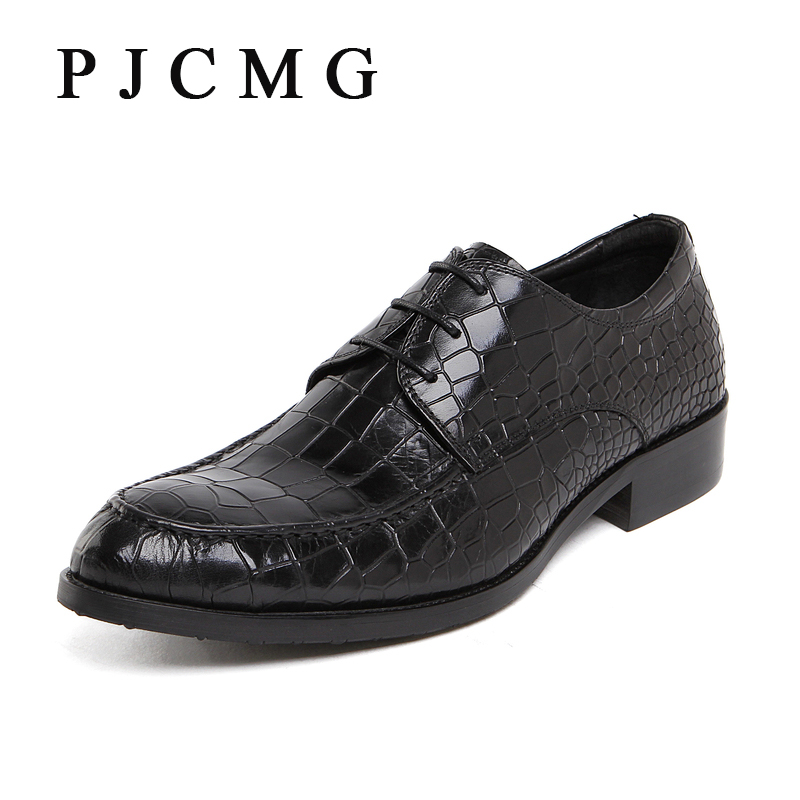 цены  PJCMG Fashion Italian Designer Formal Mens Dress Genuine Leather Black/Red/Blue Lace-Up Wedding Flats Office For Man Shoes