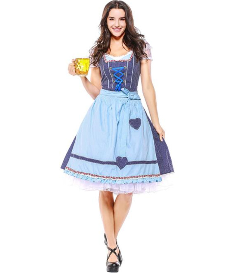 maid outfit Germany Bavaria Oktoberfest beer festival work clothes Costume Halloween Carnival Party Cosplay long dress A038