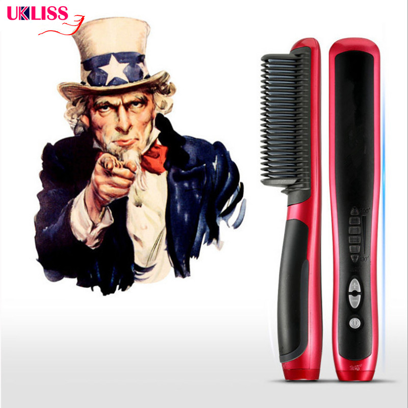 Anti Static Ceramic Straightening Brush Comb Hair Straightener Iron Pro LCD Heating Electric Ionic Fast Safe Hair Straightener