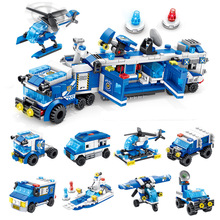 City Police Series 8 In 1/6 In 1 Vehicle Car Helicopter Police Staction Building Blocks Diy Bricks Compatible With Legoings 7 in 1 diy assembly engineering vehicle model building blocks compatible legoings column engineering car series bricks boys toys