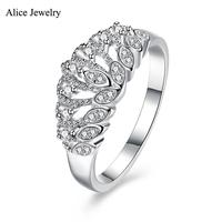 SVR131 2016 New 100 Real Pure 925 Sterling Silver Ring AAA Zircon Crown Party Engagement Wedding