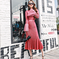 [CHICEVER] 2017 Winter Solid Flare Sleeve Bright Silk Dress Knitting Sexy Ruffles Ladies Party Dresses Women New Fashion Trumpet