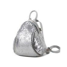 Блестки деко Роскошные женщины Bagpack искусственная кожа женщины рюкзак элегантные блестящие мигает Стиль Женский школьная сумка серебристый/белый