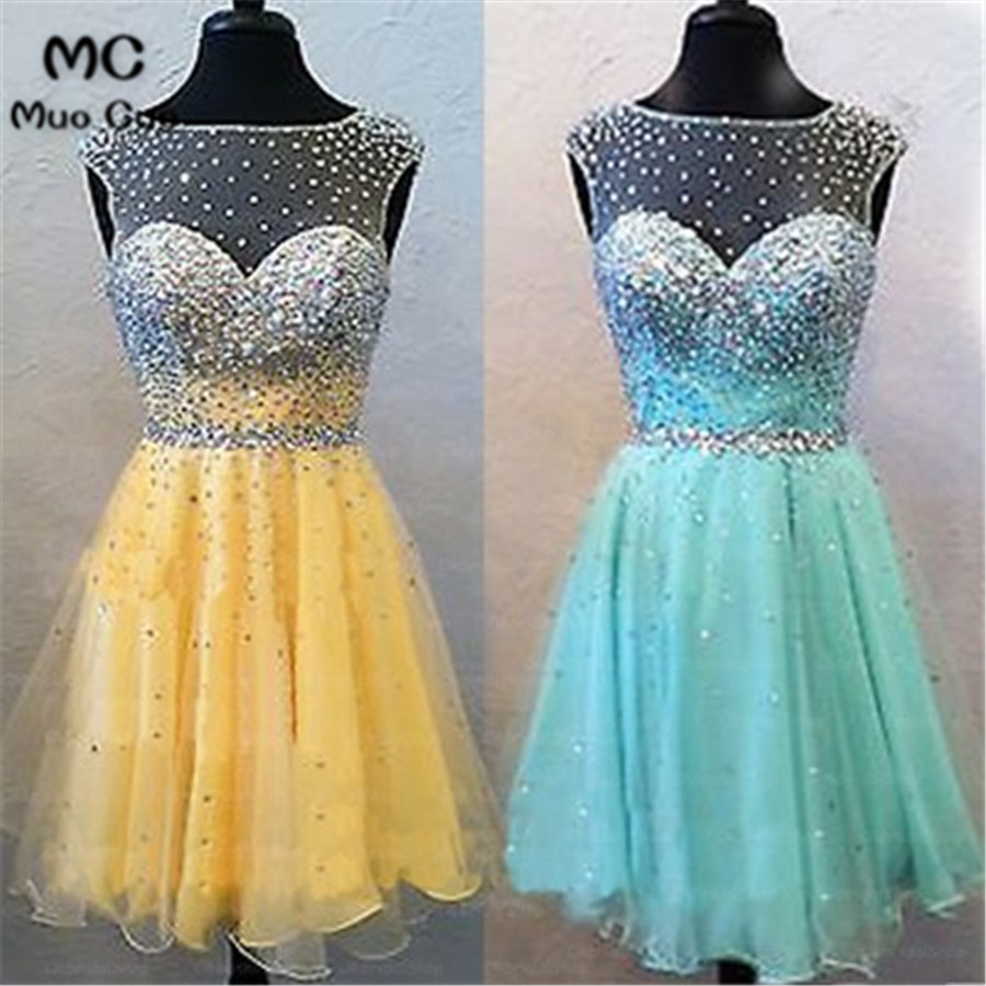 2018 A-Line Illusion Beaded Graduation Homecoming Dresses Tank Sleeveless Tulle Cocktail Party Dress Short Custom Made