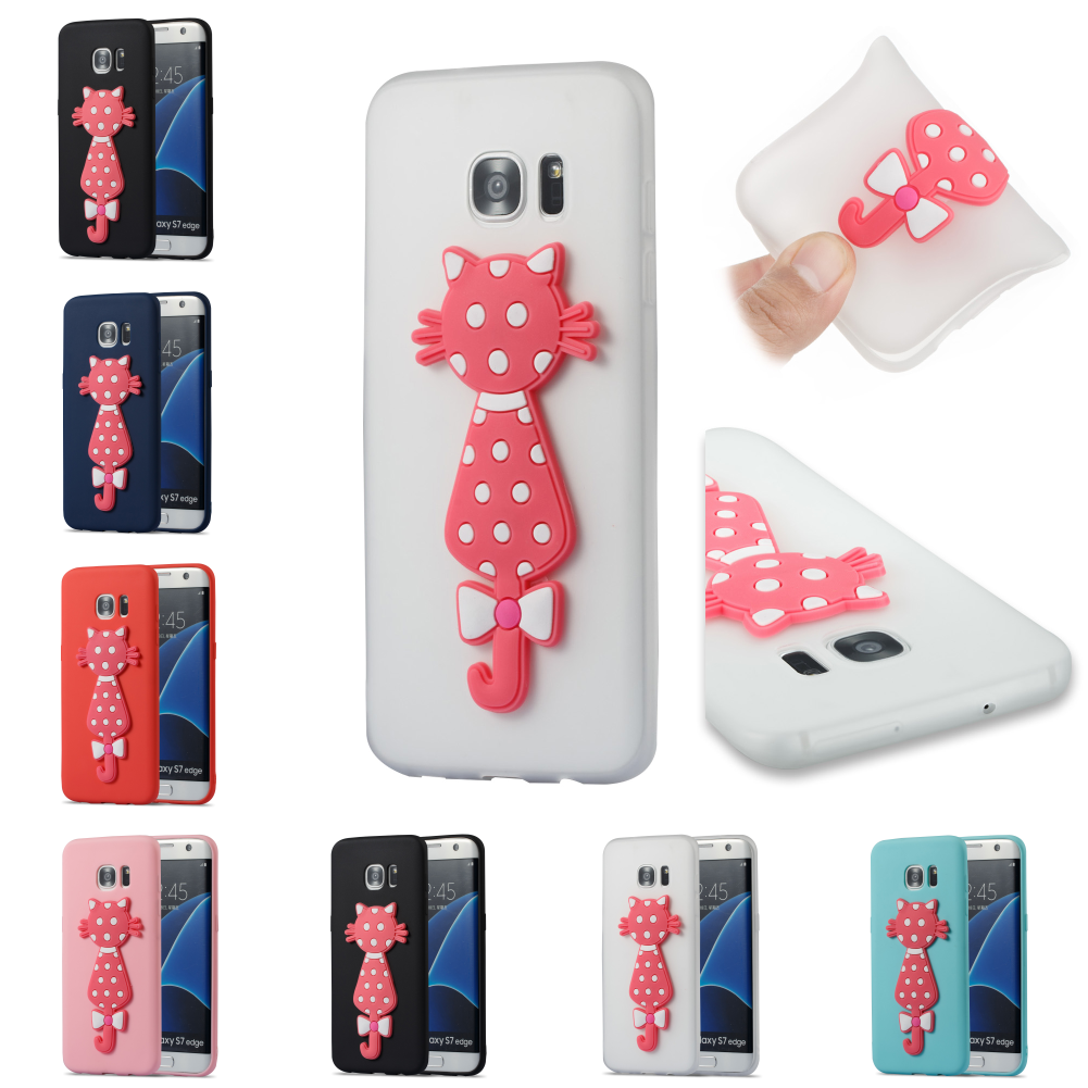 Cartoon Silicone TPU 3D Cat Cute Bag Phone Case Kryty Shell Cubierta Cover For Sumsung Samsug Samsung Galax Galaxi S7 Edge