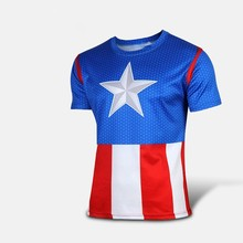 2016 the new captain America jerseys t-shirts with short sleeves round collar T-shirt printing jacket with short sleeves