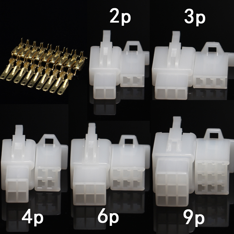 20sets 2.8mm 2/3/4/6/9 pin Automotive 2.8 Electrical wire Connector Male Female cable terminal plug Kits Motorcycle ebike car купить