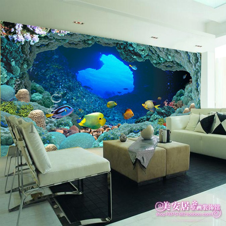 Large Mural Wallpaper Background The Living Room TV Sofa Custom Childrens Bedroom Underwater World In Mailboxes From Home Garden On