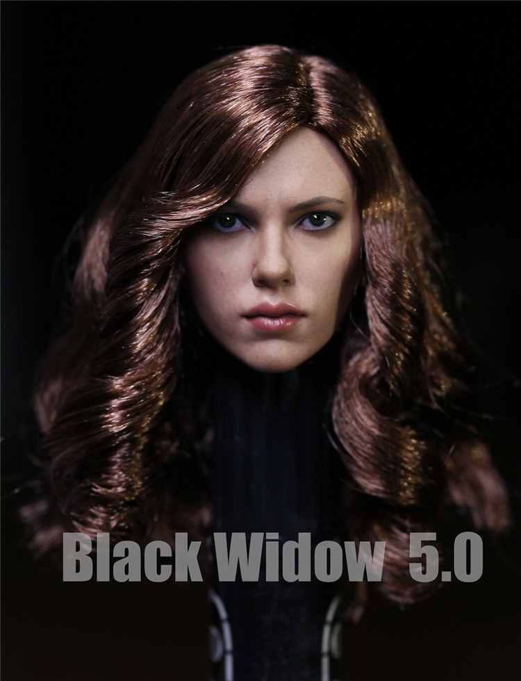 Custom 1 6 Scarlett Johansson Black Widow Head Sculpt With long brown Long curly Hair Female