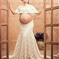 2016 Maternity photo lace Dress Pregnant Photography Props boat neck Dress Fancy Pregnancy Photo Shoot Studio Clothing M609