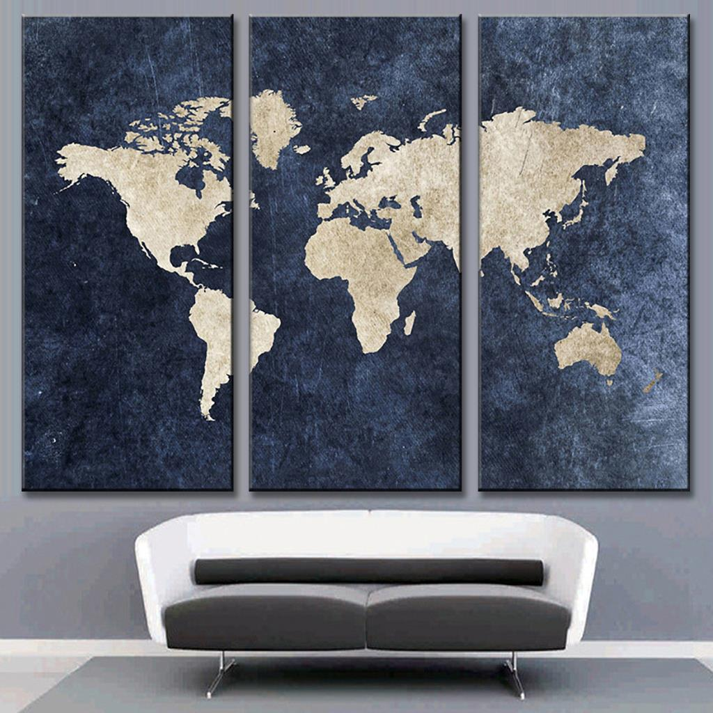 3 panel vintage oil painting world map modern world map canvas new 3 pcsset abstract navy blue world map canvas painting modern wall pictures for office room gumiabroncs Image collections