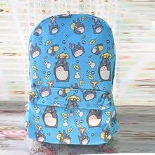 Nueva Llegada de Mi Vecino Totoro de Dibujos Animados Mochila de Lona Mochila Mochila Azul Bolsas de Hombro Mochila Escolar para Adolescentes Niños