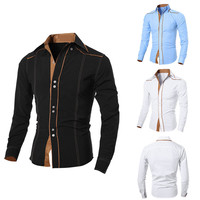 Spring Autumn Feature Shirt Men Bussiness Shirt Fashion Personality Splicing Long Sleeve Casual Slim Fit Male