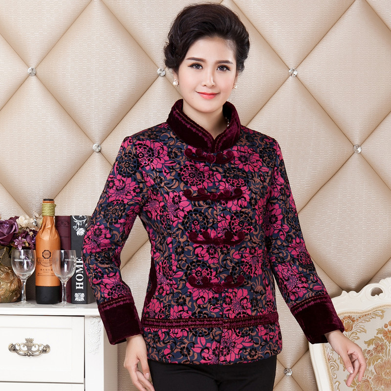 (bust 124cm) Winter new middle-aged women Chinese style big yards mother dress embroidered hooded cotton jacket wind jacket