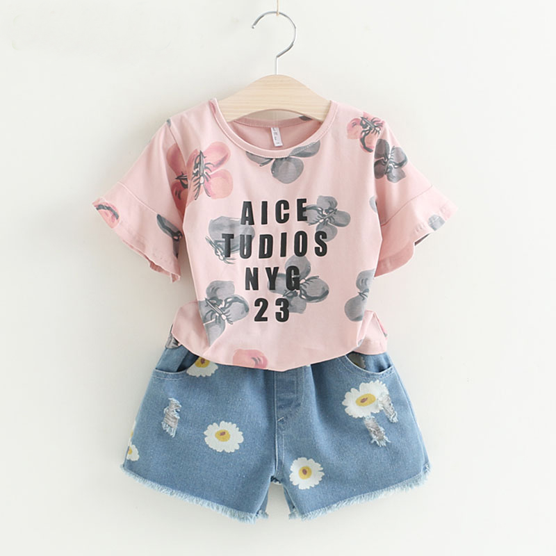 2018 Summer Girls Clothing Sets Short Sleeve T-Shirt + Shorts 2Pcs Suit Fashion Letter Printing Girls Clothing For Kids Clothes