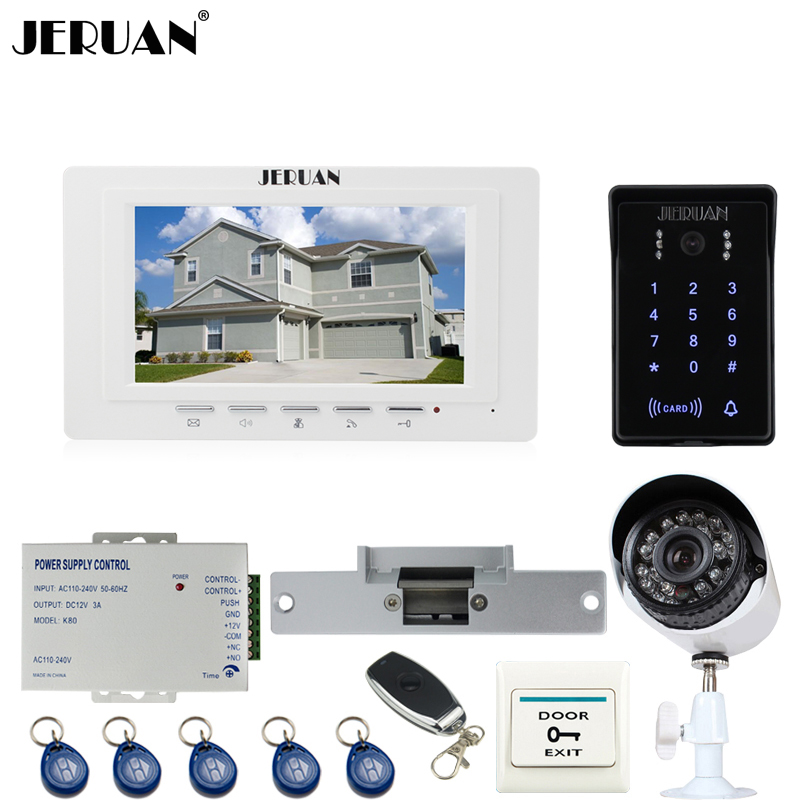 JERUAN unique 7`` LCD video door phone intercom System monitor waterproof Touch Key password keypad Camera+700TVL Analog Camera jeruan home wired 7 inch touch key video doorphone intercom system 2 monitor 700tvl waterproof touch key password keypad camera