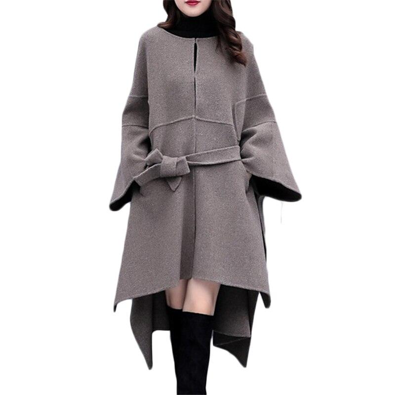 زائد حجم النساء عباءة الصوفية معطف الخريف الشتاء جديد شعبية الصوفية معطف المرأة الكورية فضفاض طويل جودة عالية معطف 3XL 1042-في صوف مختلط من ملابس نسائية على  مجموعة 1