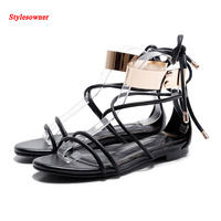 2017 New Women Sandal Female Ankle Metal Buckle Lace Up Strappy Flat Sandal Shoe Rome Gold