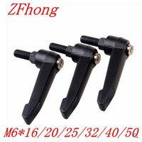 5 stücke M6 * 16/20/25/32/40/50 Schwarz außengewinde Klemmhebel verstellbaren Griff Knopf|handle knob|clamping leverknob threaded -