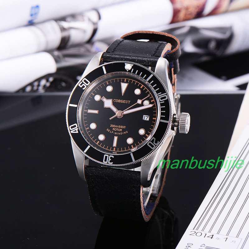 41MM Corgeut black dial rosegold  Luminous Marks sapphire glass Japan miyota movement 20ATM Mens Automatic water resistant Watch 41mm corgeut wristwatches stainless steel case black dial date 20atm miyota 2815 automatic movement mens water resistant watches