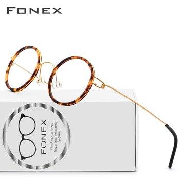 b76c6153cb De titanio gafas de Marco de las mujeres de los hombres de la miopía óptico  Dinamarca ultraligero anteojos recetados 2018 coreano sin tornillos gafas
