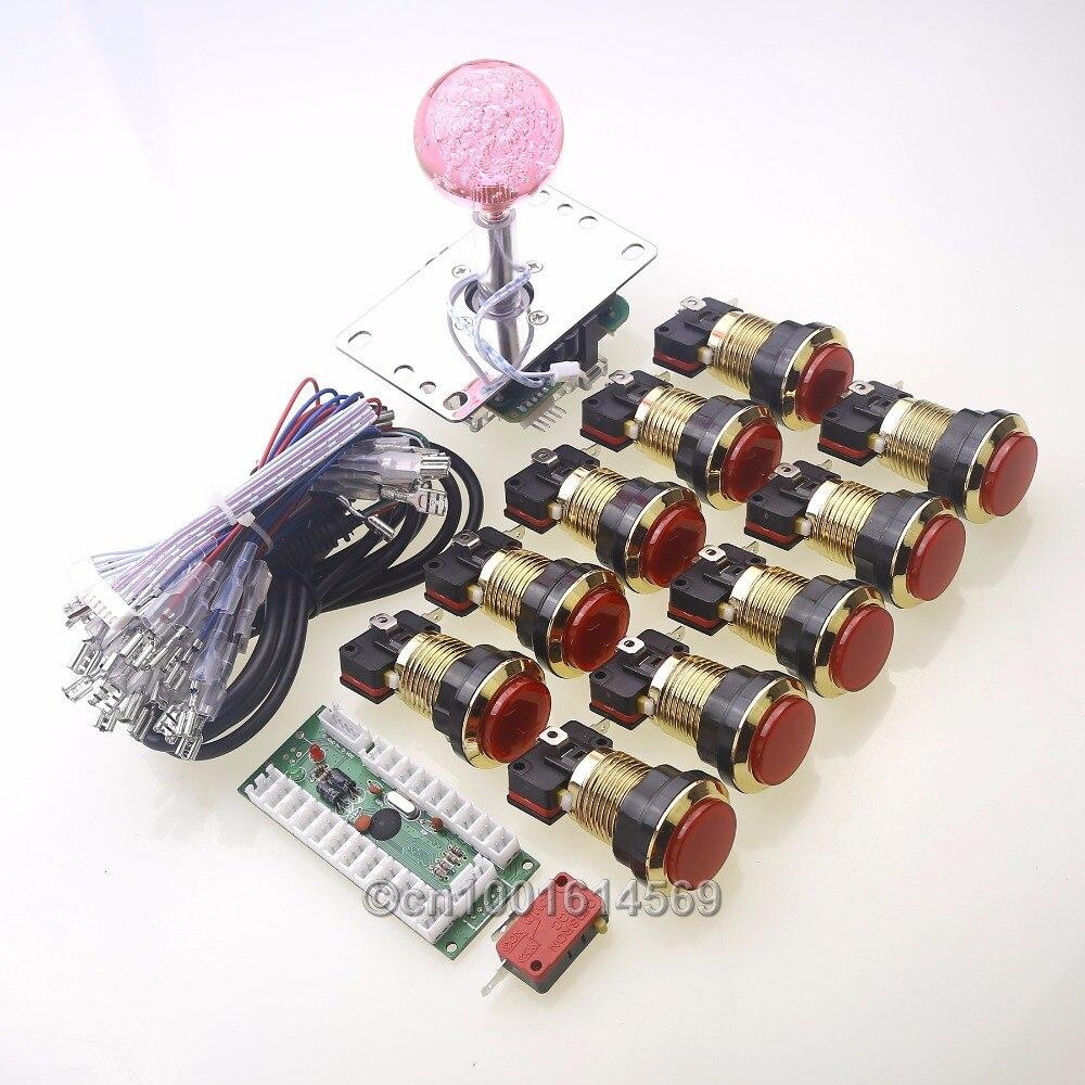 New Arcade DIY Kits Parts USB Encoder To LED PC Joystick + 10 x LED Chrome Gold Push Button + 4 /8 Way LED Joystick For MAME DIY