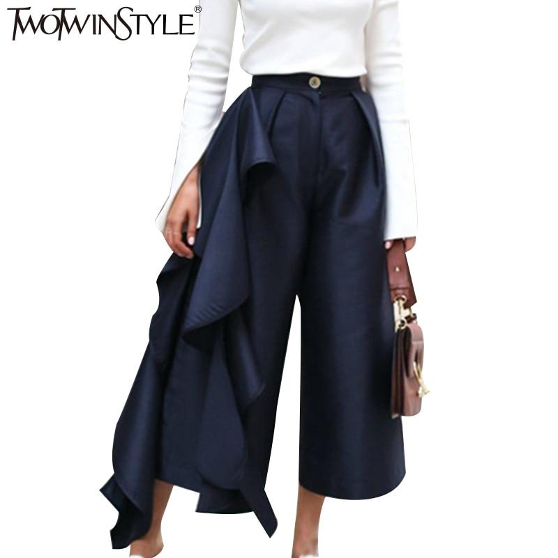 TWOTWINSTYLE рюшами мотобрюки для женщин высокая талия широкие брюки женские повседневное Palazzo низ большой размеры Одежда корейский осен