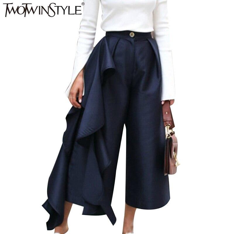 TWOTWINSTYLE Ruffle Pantaloni per Le Donne A Vita Alta Pantaloni Gamba Larga Palazzo Casual Bottoms Ampie Dimensioni Vestiti Coreano Autunno