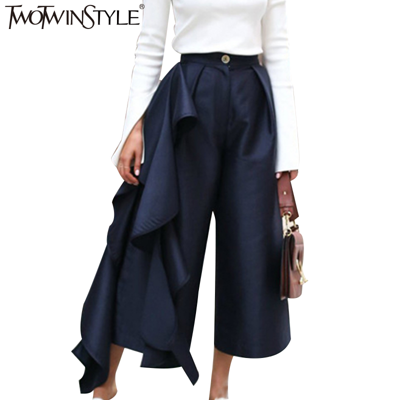 TWOTWINSTYLE Ruffle Trousers for Women High Waist Wide Leg Pants Female  Casual Palazzo Bottoms Large Sizes Clothes Korean Autumn-in Pants   Capris  from ... 12e212777