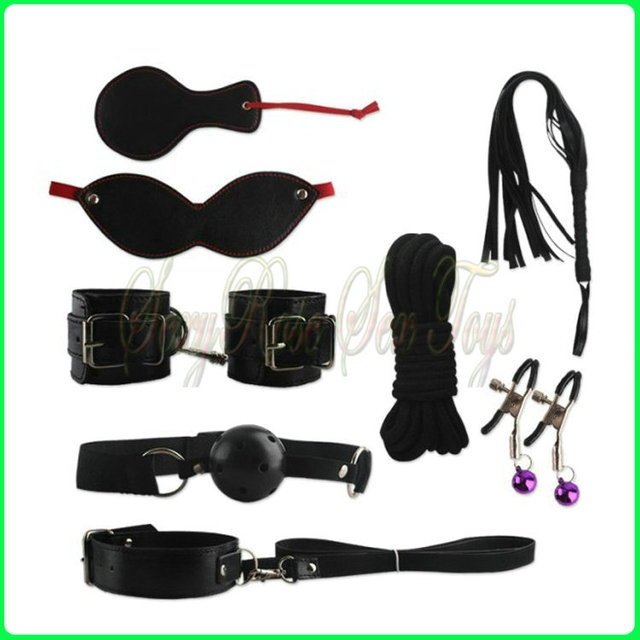 NINGMU Adult Game Handcuffs Gag Nipple Clamps Whip Collar Erotic Toy Leather Fetish Sex Bondage Restraint Sex Toy 8pcs/Set