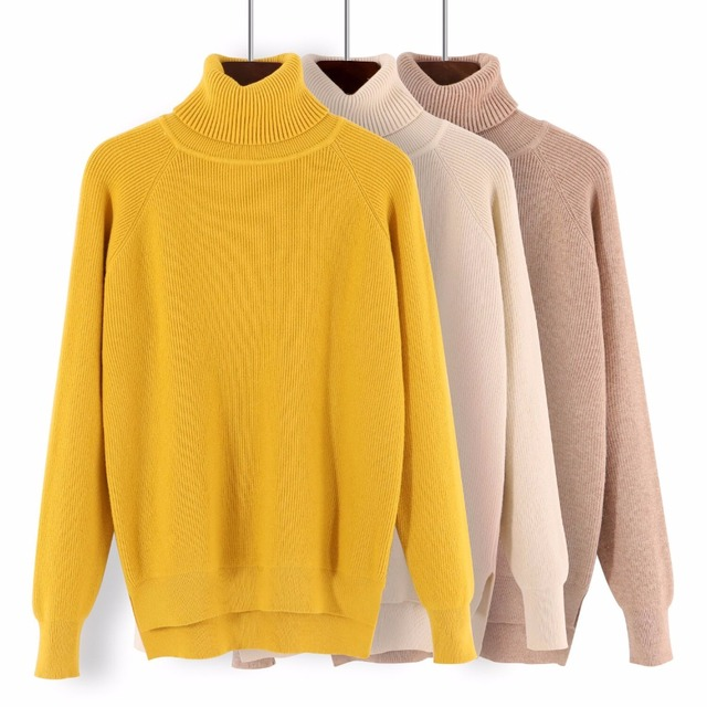 789998d939 GIGOGOU Loose Turtleneck Women Autumn Winter Sweater Thick Warm Pullover  and Sweater Soft Long Sleeves Jumper