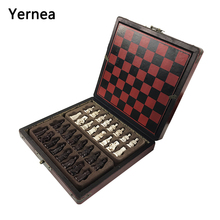 Yernea Hot Antique Chess Game Set Vintage Resin Lifelike Pieces Separate Checkerboard Pattern Box Gift