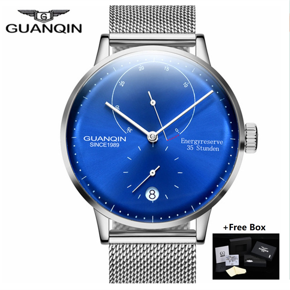 GUANQIN Top Brand Luxury Watch Men Automatic Date Full Stainless Steel Watch Man Fashion Mechanical Watches relogio masculino(China)