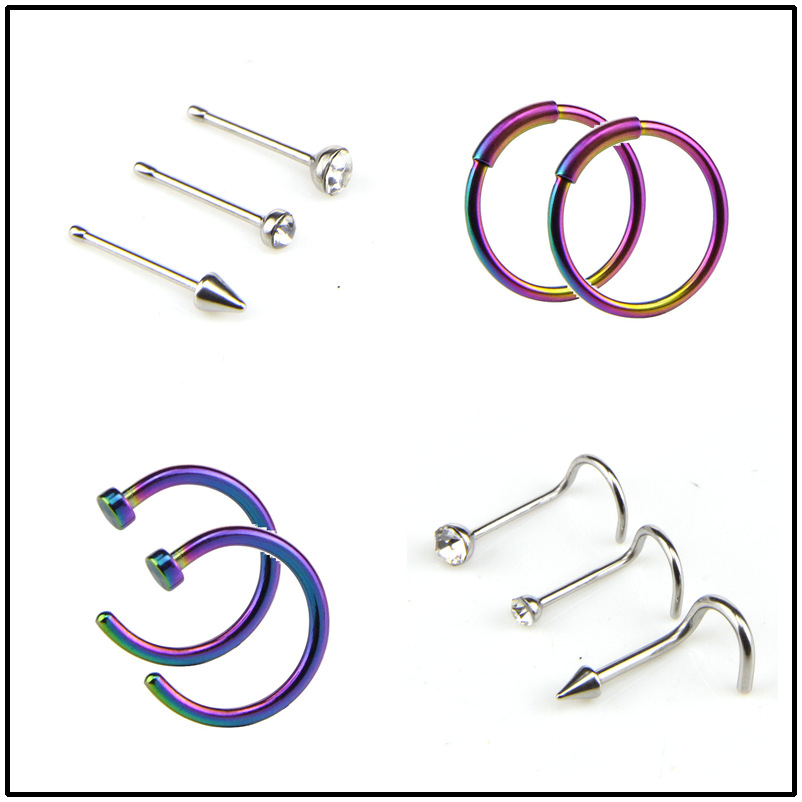 10pcs Body Mix Ring Fake Piercing Jewelry Women Nostril Septum Nose Hoop Stainless Steel Clip Tragus Cartilage Ear