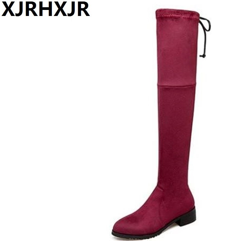XJRHXJR Winter Over-the-knee Stretch Stovepipe Boots Women Shoes Suede Leather Low Heel Long Riding Boots Cross Straps Silm Boot