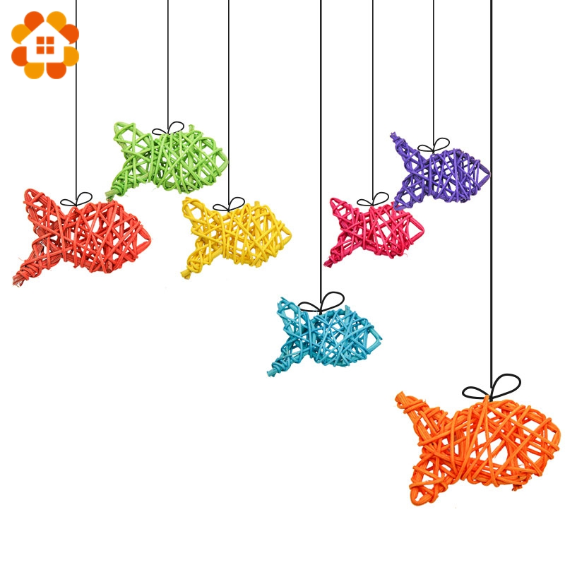 10PCS Fish Shape Rattan Ball 11CM 9 Colors Sepak Takraw For Christmas Birthday Party & Home Wedding Party Decoration Supplies