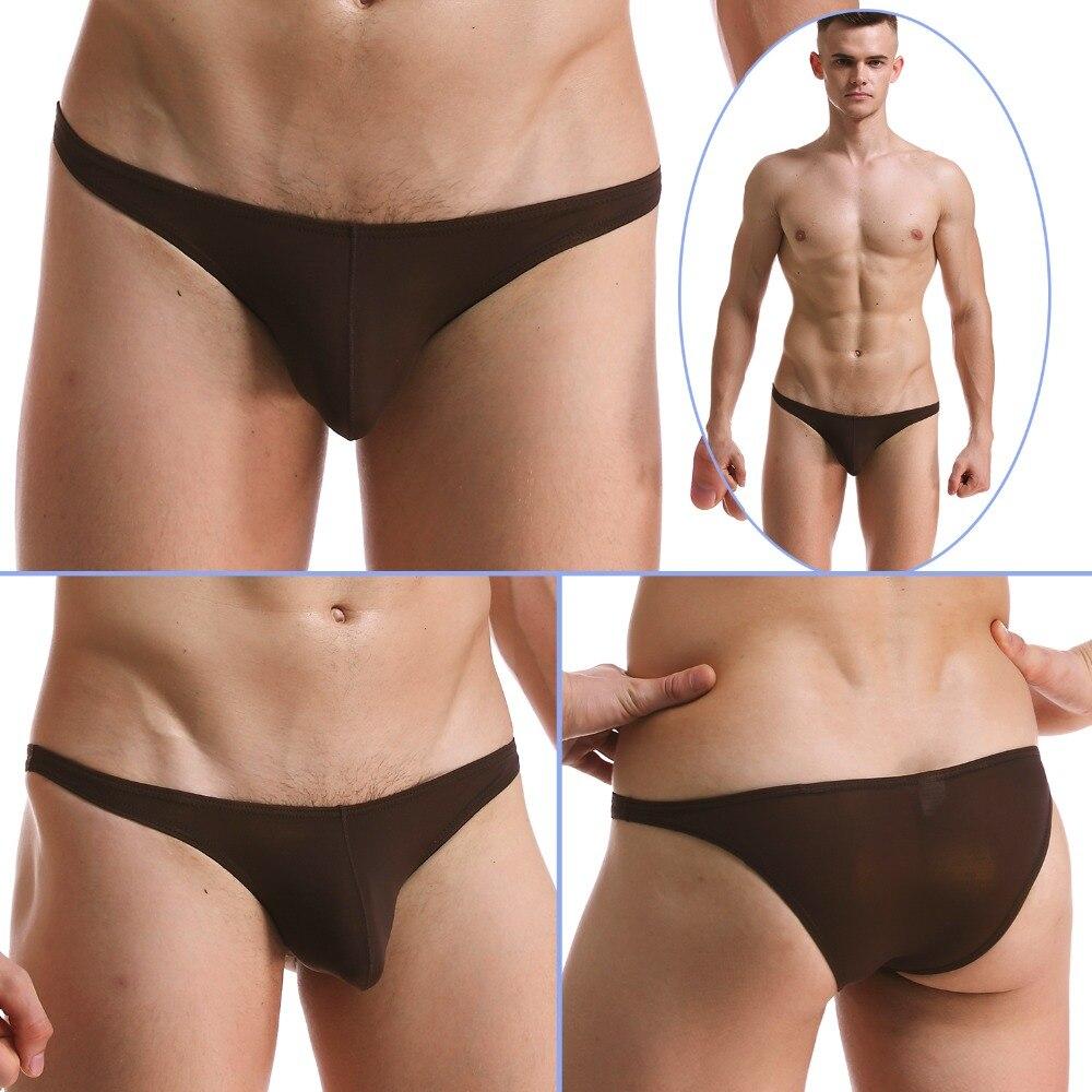 mens sexy bikini briefs silk low waist pouch swimwear transparent
