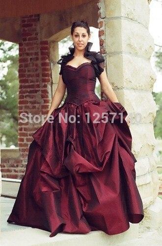 2015 new Wine red wedding dress Steampunk Victorian Western Desert
