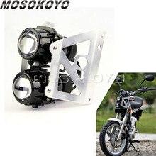 Straat Motorfiets Custom Twin Koplamp 2X55W H3 Projector Licht Met Zilveren Beugel Houder Voor Yamaha Suzuki