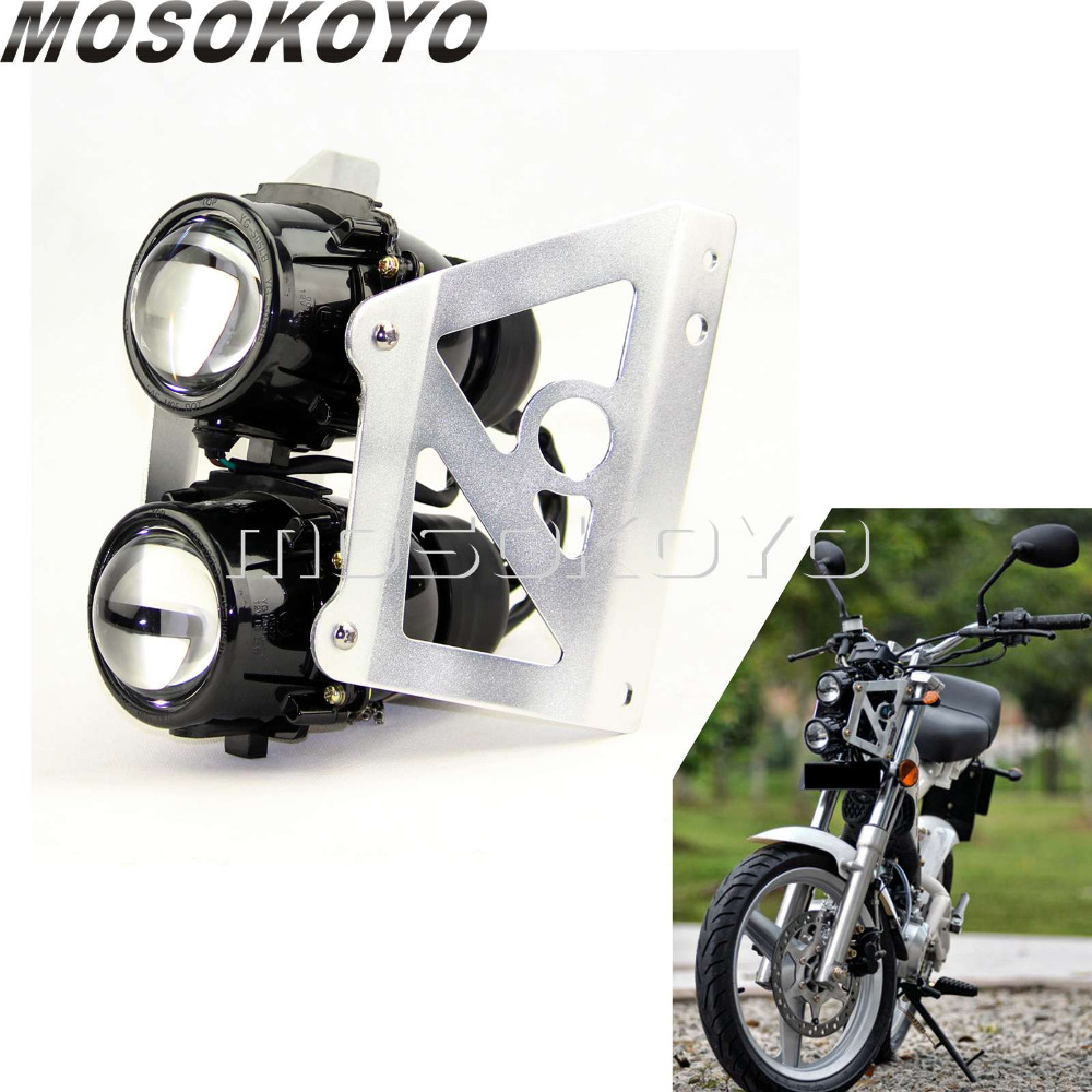Street Motorcycle Custom Twin Headlight 2x 55w H3 Projector Light With Sliver Bracket Holder For Yamaha Suzuki KTM Duke