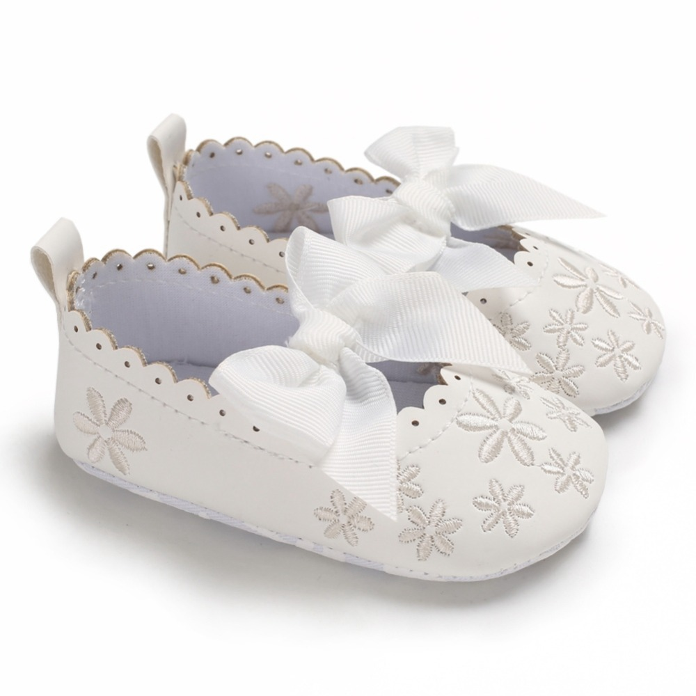 Baby Girls Toddler Infant First Walkers Spring Soft Sole Non-Slip PU Princess Casual Floral Embroidery Shoes with Bowknot 0-18M
