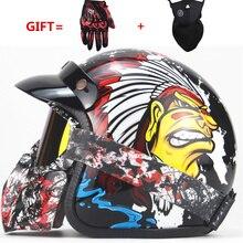 Per gli adulti per Harley Caschi moto d'epoca casco casco motocross Casco Capacete viso aperto retro moto Chopper Stile