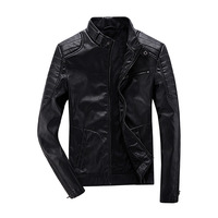 Autumn New Fashion Stand Collar Blouson Cuir Moto Slim Fit Velet Lining Motorcycle Jackets Men