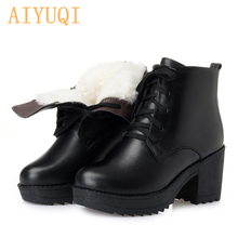 AIYUQI  Platform Boots Women 2019 Genuine Leather Martin Wool Thick Warm Snow Plus Size Military
