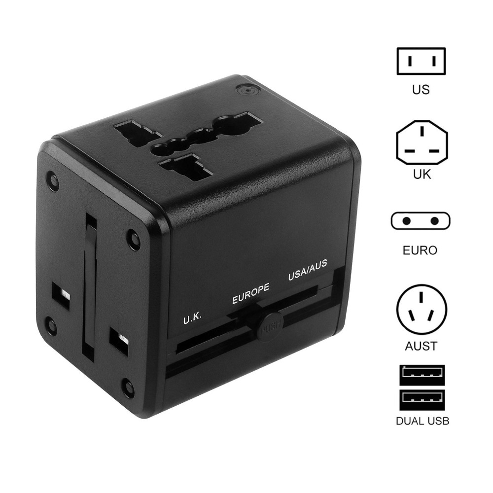 Universal Travel Adapter, All-in-one World Adapter with 2 USB Ports, Worldwide Travel Adapter Charger for USA UK EU AU (Black)