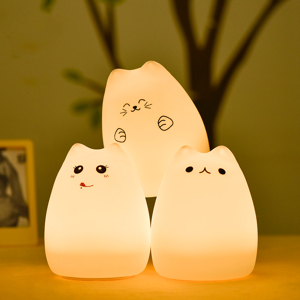 SuperNight Cute Cartoon Cat LED Night Light 7 Colors Silicone Rechargeable TapRemote Control Children Baby Bedside Table Lamp (3)