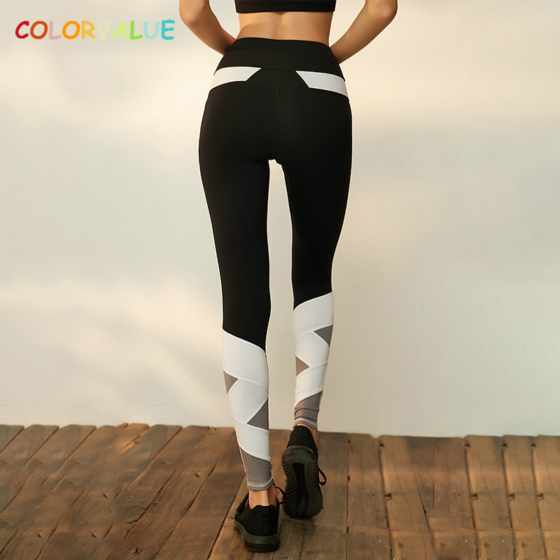 Colorvalue Contrast Color Training Sport Leggings Women Anti sweat Patchwork font b Fitness b font Yoga